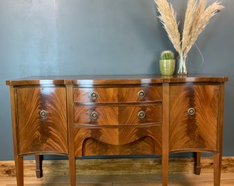 Vintage Wooden Sideboard Serpentine Cupboard Drawers Buffet Server Storage