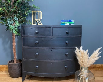 Antique Pine Chest Of Drawers / Painted Drawers / BlacK Chest Of Drawers/ Rustic Drawers / vintage drawers / Victorian Drawers / Upcycled