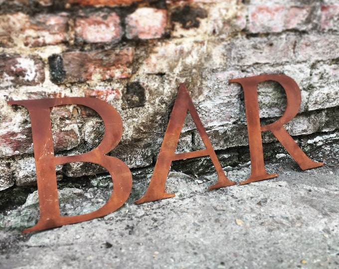 BAR Rusty metal word letters, shop home sign house garden name, lettering, rusted, industrial, vintage, numbers, pub, bbq