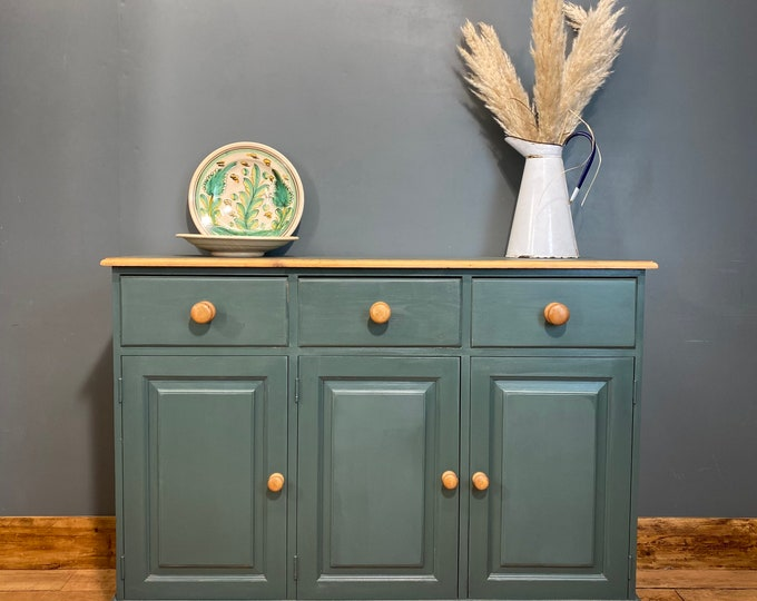 Rustic Pine Sideboard / Pine Cupboard / Rustic Console Table / Painted Green