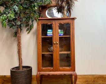 Vintage Glazed Cabinet / Curio Display Cabinet / China Cabinet /Glazed Bookcase