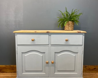 Vintage Pine Sideboard / Painted Sideboard / Shabby Chic Cabinet / Light Blue