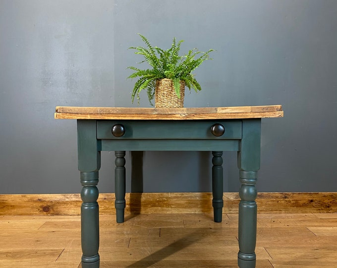 Vintage Kitchen Table / Small Dining Table / Rustic Farmhouse / Painted Shabby
