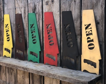 RUSTIC colourful OPEN SAW Sign Metal Pub Bar cafe Tattoo Barbers salon shop