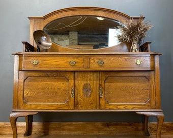 Antique Oak High Back Sideboard / Mirror Back Buffet Server / Oak Cupboard