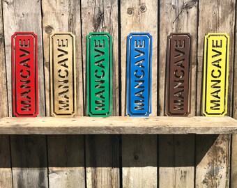 RUSTIC colourful MANCAVE Sign ,  home Bar sign , Drinks sign , tiki Hut , Shed sign , Garage or workshop sign , garden bar sign ,