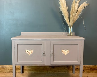 RUSTIC SIDEBOARD , Vintage Small Cupboard Drawers Sideboard Painted Shabby Chic Rustic French Pink