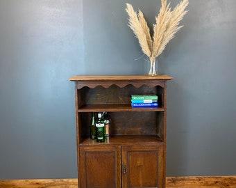 Rustic Vintage Oak Bookcase / Vintage Cupboard / Oak Shelving / Rustic Bookshelf