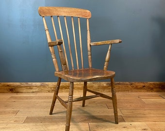 Antique Grandfather Chair / Windsor Chair / Elm And Beech/ Fireside Armchair