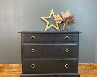 Vintage Drawers / Painted Retro Drawers / Black Chest Of Drawers / By Stag