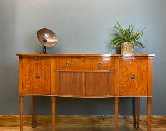 Antique Mahogany Sideboard / Federal Style / Mahogany Bow Front Sideboard