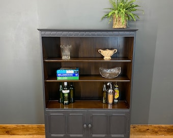 Rustic Vintage Bookcase / Ercol Bookcase / Display Shelving / Drinks Cabinet