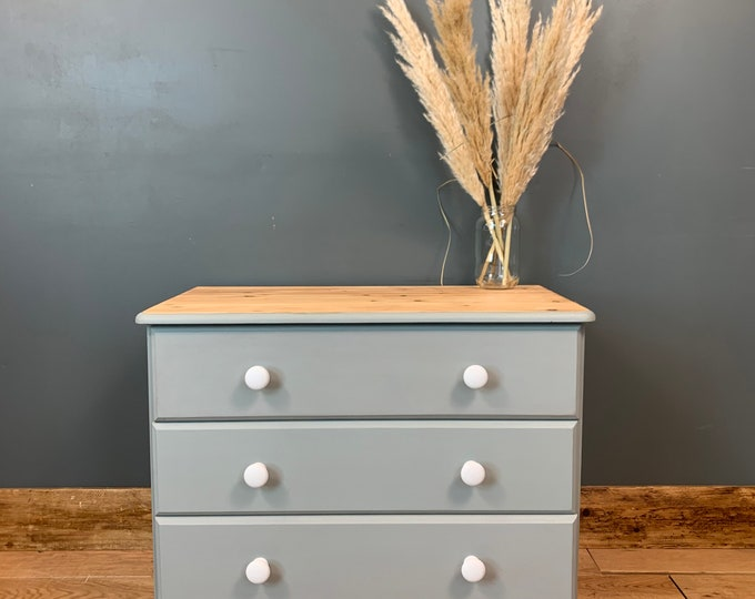 Vintage Chest Of Drawers / Sideboard Painted /Shabby Chic Drawers / Blue Grey