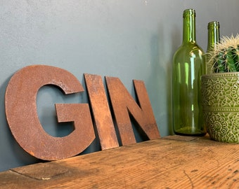 GIN Letters /  Metal Wall Art / Kitchen Decor / Bar Sign / Shop Sign / Drinks
