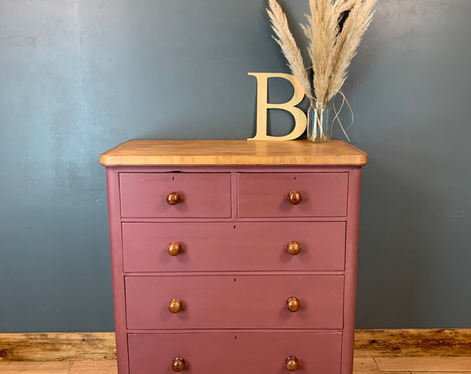 Vintage Chest Of Drawers / Sideboard Painted /Shabby Chic Drawers / Painted Pink