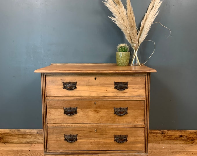 Antique Arts & Crafts Storage Sideboard Chest Of Drawers Bedroom Pine Rustic