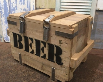 Vintage Reclaimed Pine Upcycled Trunk Chest Box Storage BEER Crate Cupboard