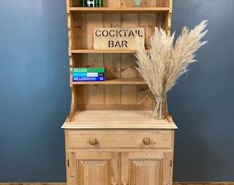 Vintage Pine Dresser / Rustic Kitchen Cupboard / Shabby Chic Kitchen Storage