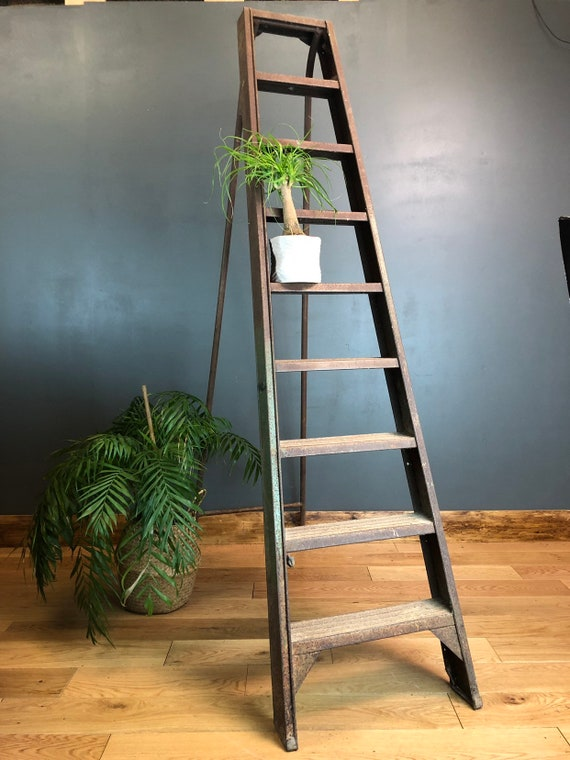 Large Tall Metal Industrial Ladder House Decor Shop Display Vintage Rustic