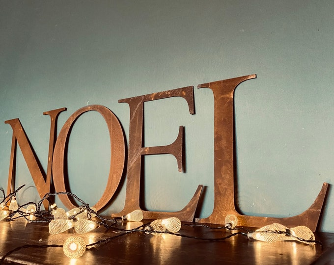 """NOEL Christmas Decorations /Rusty Metal Letters / Thin Font 12"""" /Xmas Decor"""