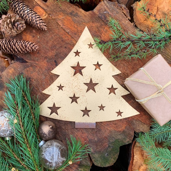 Rustic GOLD CHRISTMAS TREE Plaque Sign Metal Shop Home decoration Nordic