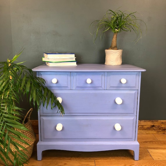 Vintage Pine Upcycled Shabby Chic Chest Of Drawers Painted Light Blue Boho