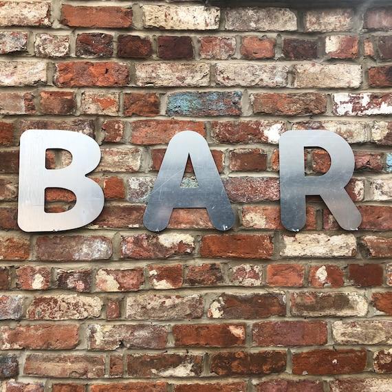 BAR Lettering Letters GALVANIZED Metal Shop Home Sign Rustic Drinks Cocktails
