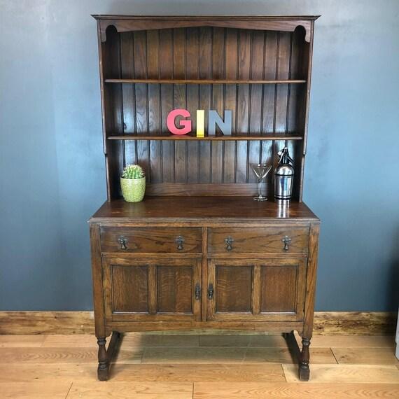 Vintage Antique Oak Rustic Kitchen Dresser Shelves  Cabinet Cupboard Shelving