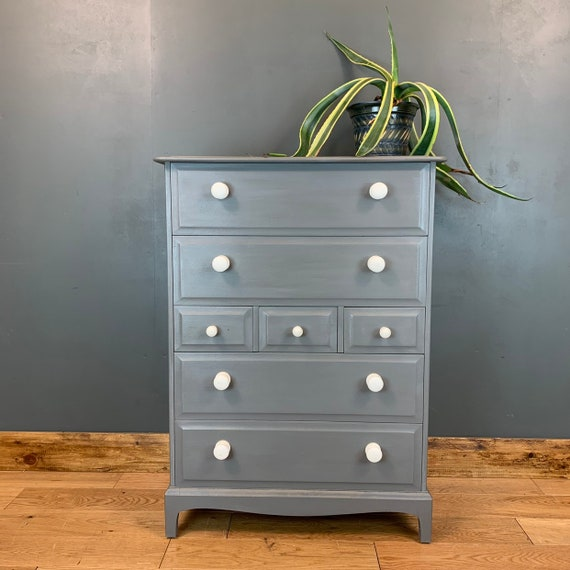 Vintage Stag Retro Upcycled Shabby Chic Chest Of Drawers Painted Blue/grey