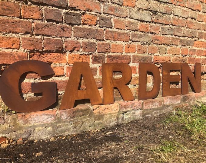 Rusty letters GARDEN , Rusty metal letters , garden sign , rustic lettering , garden feature , garden ornament , garden decoration.