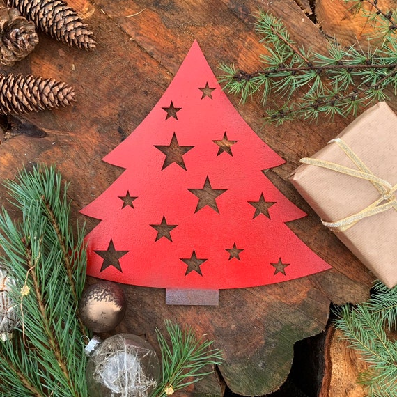 Rustic RED CHRISTMAS TREE Plaque Sign Metal Shop Home decoration Nordic