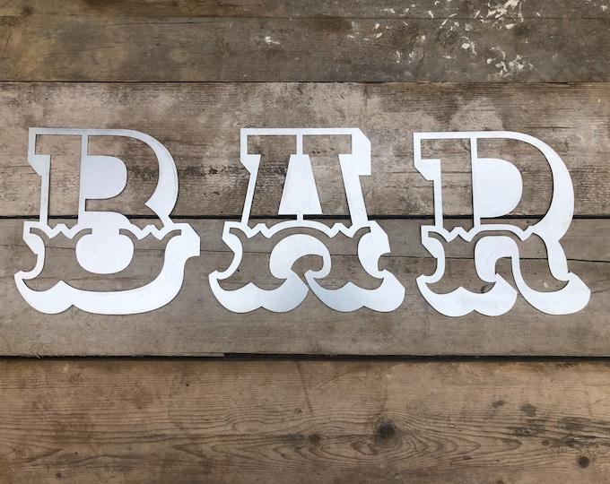 STEEL BAR SIGN In Carnival letters, vintage bar decor , garden bar sign , home bar sign , rustic lettering , metal letters , cocktail bar
