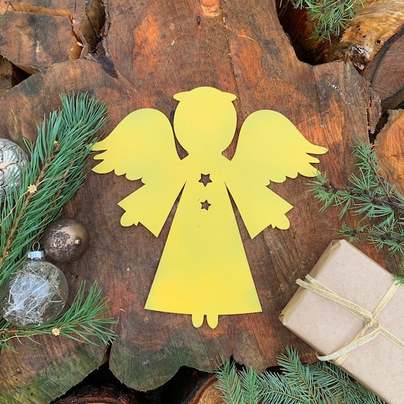 Distressed YELLOW ANGEL Sign Metal Rustic Nordic Christmas decoration Ornament