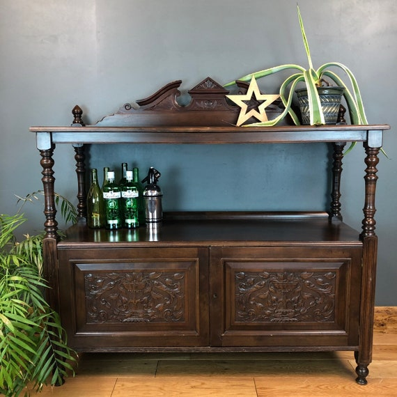 Antique Buffet Server Two Tier Mahogany Sideboard Cocktail Cupboard Cabinet