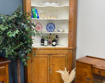 Antique Pitch Pine Cupboard / Georgian Pine Kitchen Dresser / Display Cabinet
