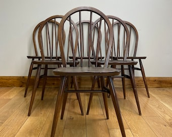 Set of 6 ERCOL Windsor Hoop Back Dining Chairs / Elm Kitchen Chairs /Mid Century