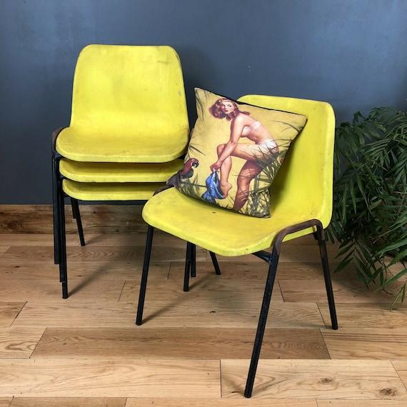 Retro Old School Chairs Set Of 4 Vintage yellow Plastic Mid Century