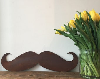 Rusty Moustache Tash Barbers Barbershop Lettering Letters Sign Metal Shop