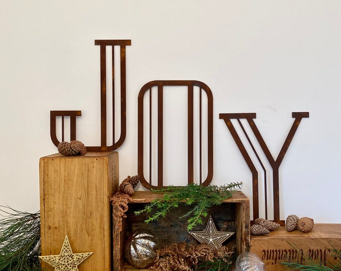 """Christmas Decorations / Rusty Metal Letters / Art Deco Font 5"""" or 12"""" / Personalised Xmas Decor / Christmas gift for her / gift for him"""