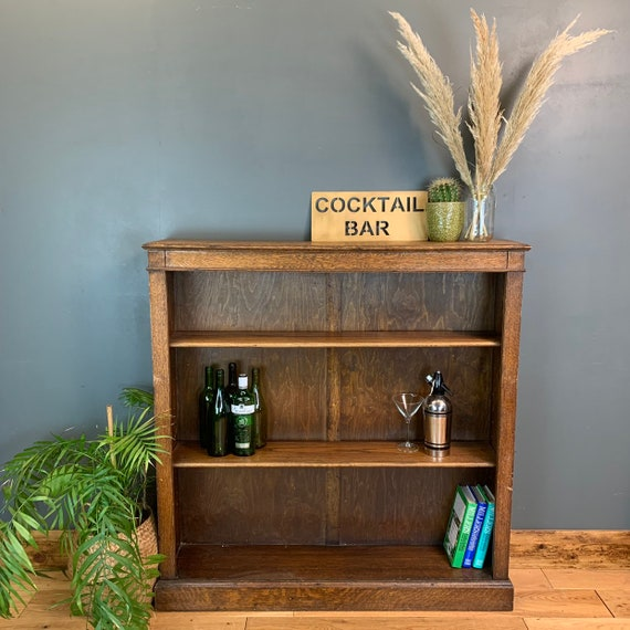 Rustic Vintage Bookcase Shelves Shelving Storage Oak Cocktail Drinks Bar