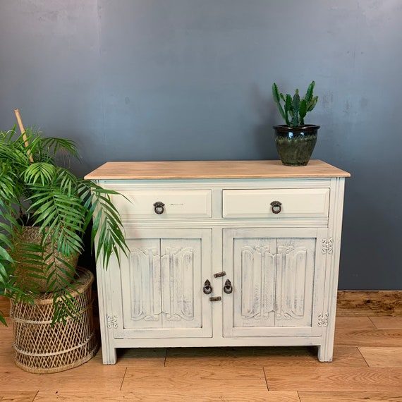 A Vintage Cupboard Drawers Sideboard Painted Shabby Chic Cream Rustic Distressed