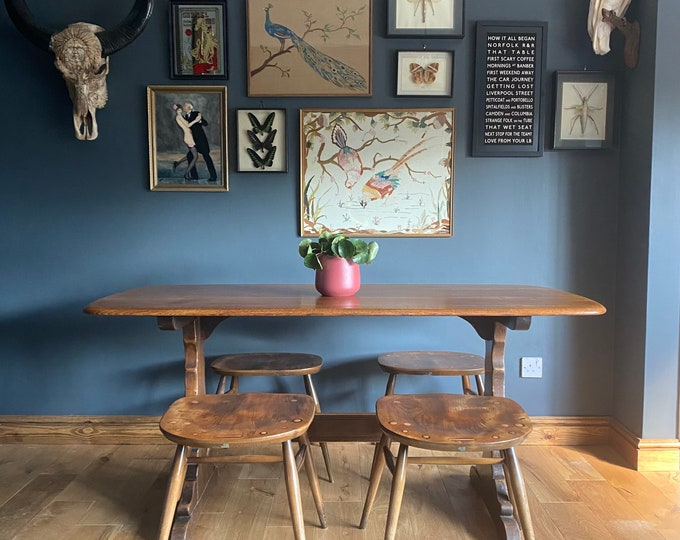 Vintage Ercol Refectory Table & Chairs / Elm Dining Table / Mid Century table