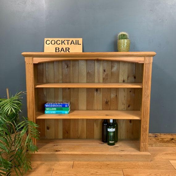 Rustic Vintage Bookcase Shelves Shelving Storage Pine Wooden Unit Cocktail Bar