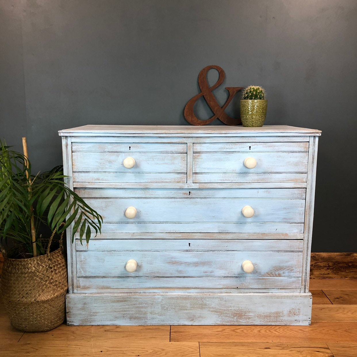 Vintage Pine Chest Of Drawers Unit Upcycled Sideboard Painted Shabby Chic