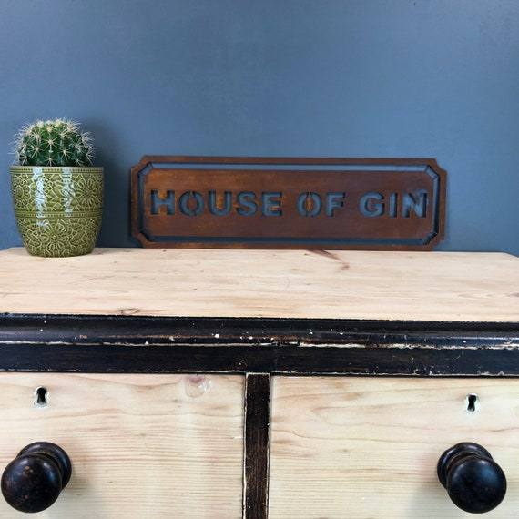 Rusted HOUSE OF GIN Word Sign Metal Shop Home Rustic Pub Cafe Bar Cocktail Drinks