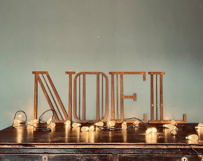 "NOEL Christmas Decorations /Rusty Metal Letters / Art Deco Font 12"" /Xmas Decor / vintage style decorations/"