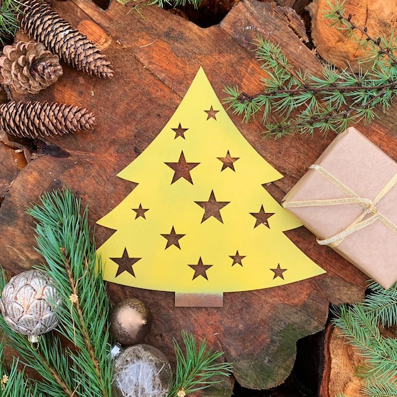 Rustic YELLOW CHRISTMAS TREE Plaque Sign Metal Shop Home decoration Nordic