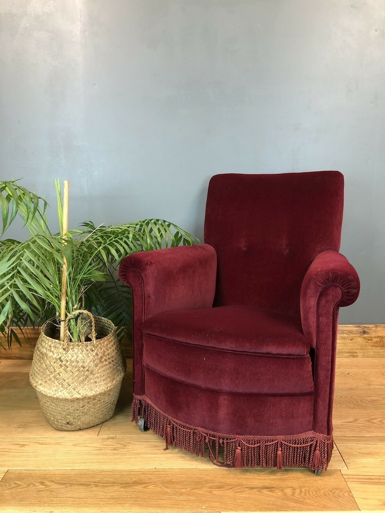 Retro Vintage Small Bedroom Armchair Chair Upholstered seating Mid Century