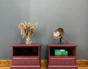 Pair Of Retro Bedside Drawers / STAG Drawers / Vintage Side Tables /Mulberry Red
