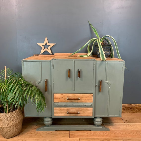 Shabby Chic Painted Art Deco Sideboard Cupboard Drawers Vintage French grey